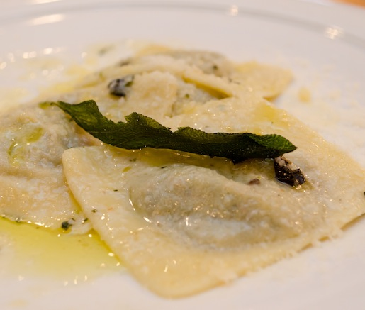 Homemade Stracciatella and Italian Chicory–Stuffed Raviolo with Butter–Sage Sauce