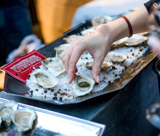 Raw Bar > Olde Salt Clams with Tomato Confit and Horseradish; Rappahannock River Oysters and Olde Salt Oysters with Nori Granité; and Lamb Tartare