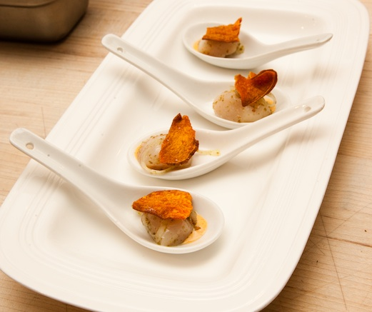 Raw Scallops with Sweet Potatoes and Za'atar