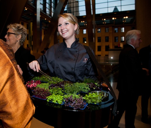 A microgreens tasting during the reception provided by Koppert Cress