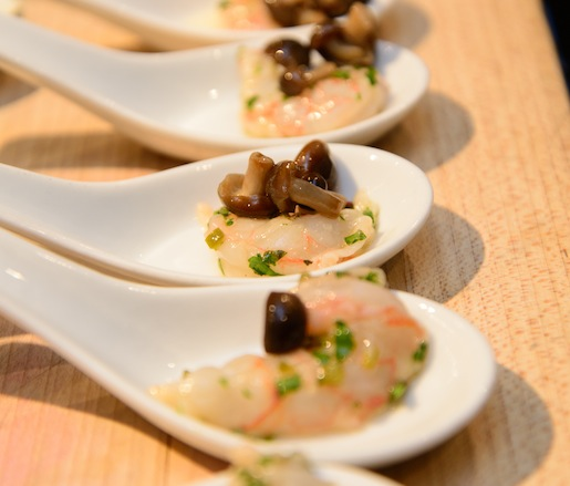 Red Prawn Ceviche with Grapefruit, Beech Mushrooms, and White Soya
