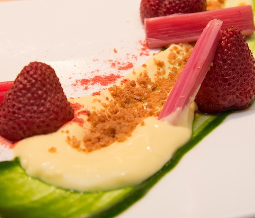Roasted Strawberries, Pickled Rhubarb, Almond Crumble, and Basil