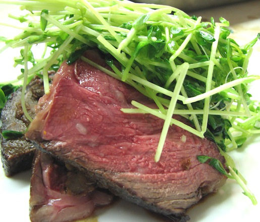 Wagyu Rib-Eye with Smoked Short Rib, Hot Bean Paste, and Ginger Pea Shoots