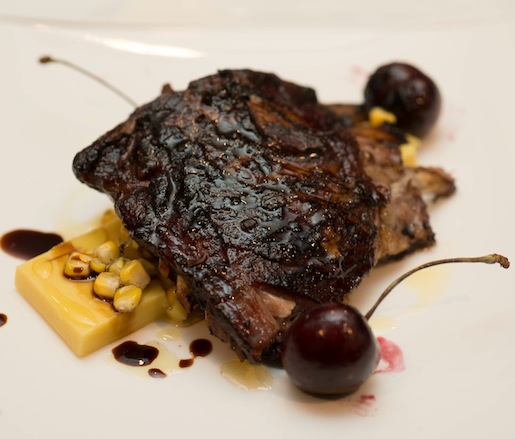 Smoked Cherries with Grilled Sweet Corn Tofu, Lamb Ribs, and 100-Year-Old Balsamic