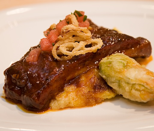 George's Watermelon Ribs with Squash Casserole and Fried Squash Blossom with Bonnie Blue Farm Tennessee Goat Cheese