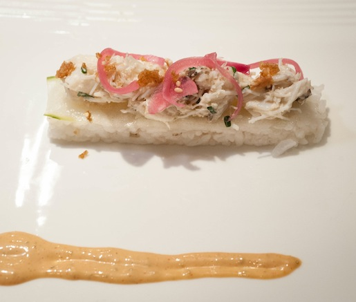 Carolina Gold Rice Salad with Stone Crab, Pickled Red Onions, and Horseradish