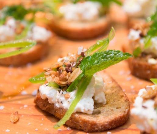 Ricotta, Sugar Snap Pea, and Pine Nut Granola Crostini