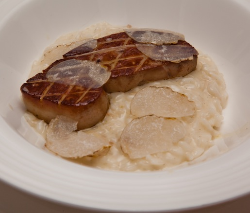 24-Month-Aged Parmesan Risotto with Sea Salted Foie Gras, Grape Reduction, and White Truffle Shavings
