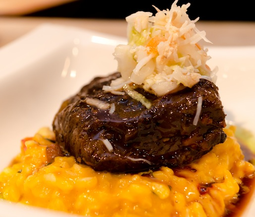 Certified Angus Beef® Short Rib–Lobster Risotto with Florida Keys Stone Crab Slaw and Pickled Red Onions