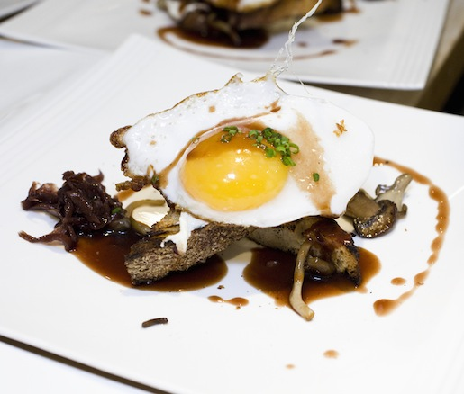 Roasted Wild Mushrooms with Smoked Ricotta, Red Wine Gastrique, Grilled Red Wine Bread, and Sunny-Side-Up Duck Egg