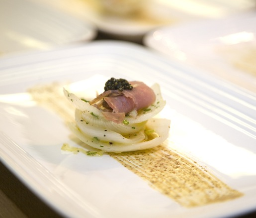 Roasted Sweet Baby Onions with Licorice, California Caviar, Smoked Sicilian Tuna Shavings, Grappa, and Crunchy Polenta–Caper Cracker