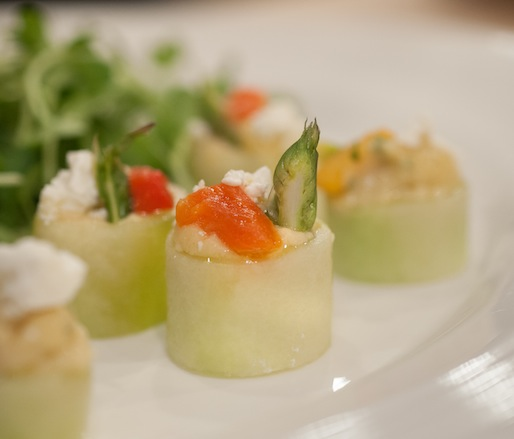 Cucumber–Asparagus Roulade with Chickpea Mousse, Feta, and Roasted Red Peppers