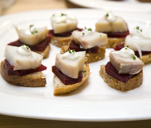 House-Smoked Sablefish with Pickled Beets and Sour Cream