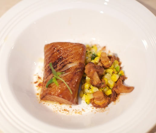 Pacific Sablefish with Chanterelles, Corn, Scallions, Miso, and Bacon Dashi