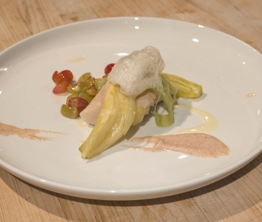 Sablefish Véronique with Toasted Marcona Almond Purée, Compressed Celery, Pickled Grapes, Baby Fennel, and Grape Yeast Foam