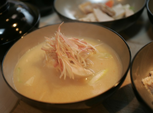 Guinea Hen with Winter Vegetables, Sake–Leek Soup, and Saikyo-Shitate