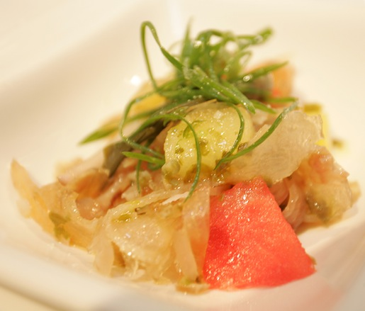 Beef Tendon Salad with Summer Melon, Pickled Ramps, and Thai Chiles