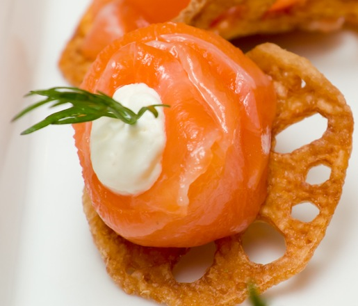 Smoked Salmon on Lotus Root Chips with Horseradish Cream