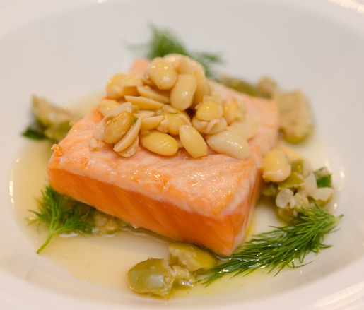 Skuna Bay Craft Raised Salmon à la Plancha with Smashed Green Olives and Smoked Soy Beans