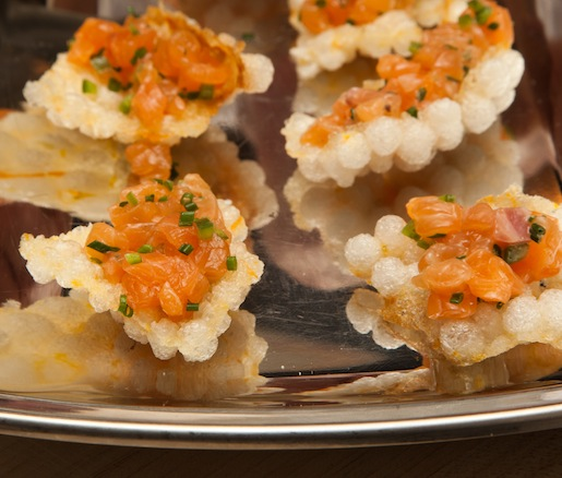 Salmon Crudo on Citrus–Tapioca Crackers