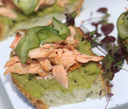 Hot-Smoked Faroe Island Salmon with Avocado, Wasabi, and Matcha-Wilted Cucumber on Sesame Bread