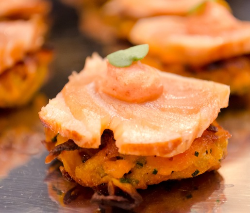 House-Smoked Salmon with Mamey Crema on Sweet Potato Cakes