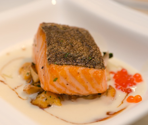 Skuna Bay Craft Raised Salmon with Sweet Potato Gnocchi, Golden Chanterelles, Homemade Barbecued Bacon, and Celery Root Chowder
