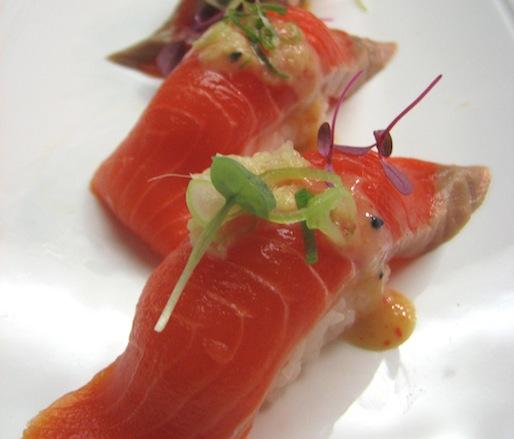 Wild Alaskan Sockeye Salmon Nigiri with Sweet Vinegar Miso