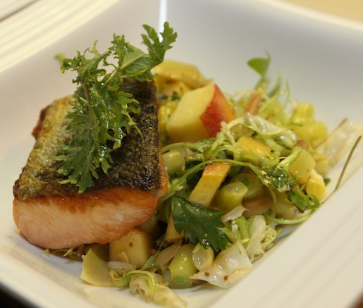 Seared Alaskan King Salmon with Sugar Snap Peas, Wax Beans, Artichokes, Peaches, Garden Herbs, and Riesling Vinaigrette