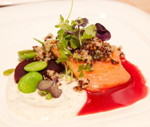 Gently Cooked Skuna Bay Craft Raised Salmon with Fava Beans, Yogurt, and Crispy Quinoa