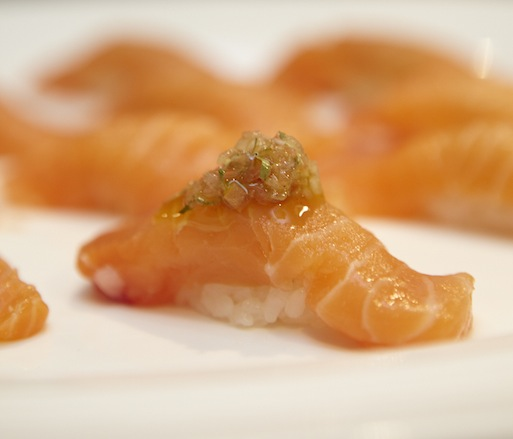 Salmon Sushi with Vietnamese Dashi Caramel and Spicy Rau Rum Salsa