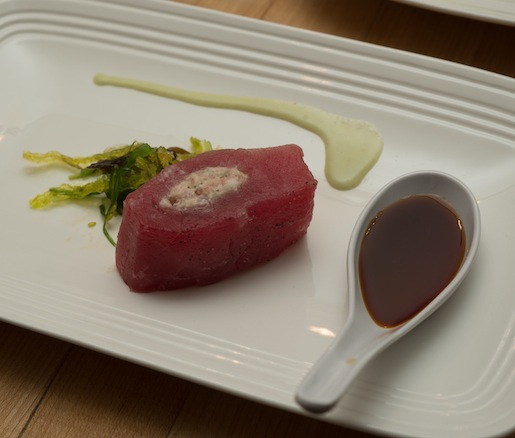 Norwegian Oak–Smoked Salmon, Red Onion, Caper, and Boursin–Stuffed Sushi-Grade Tuna Loin with Wakame Seaweed, Lime–Wasabi Sauce, and Sour Cream–Soy Sauce