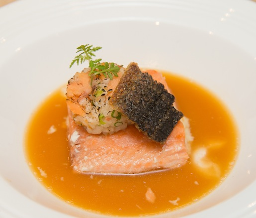 Jasmine Tea–Poached King Salmon with Smoked Salmon–Ginger Rice Cake and Vesiga