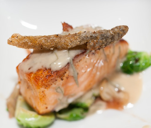 Blackened Skuna Bay Salmon with Sprout Leaves, Gala Apple Butter, and Sherry Beurre Fondue