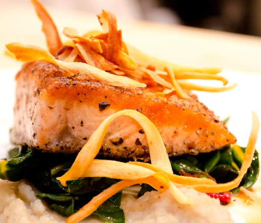 Pan-Seared Scottish Salmon with Sunchoke Purée, Rainbow Chard, Fried Salsify, and Maple–Bourbon Barrel Soy Glaze