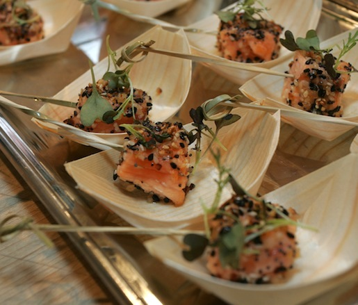 Everything-Crusted Skuna Bay Craft Raised Salmon with Scallion Cream