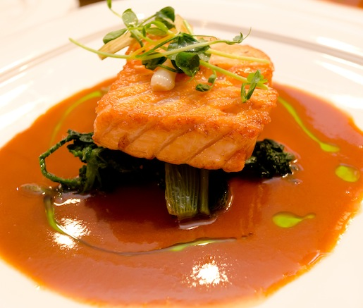Pan-Fried Skuna Bay Salmon with Wild Nettles, Pickled Ramps, and Soupe de Poisson
