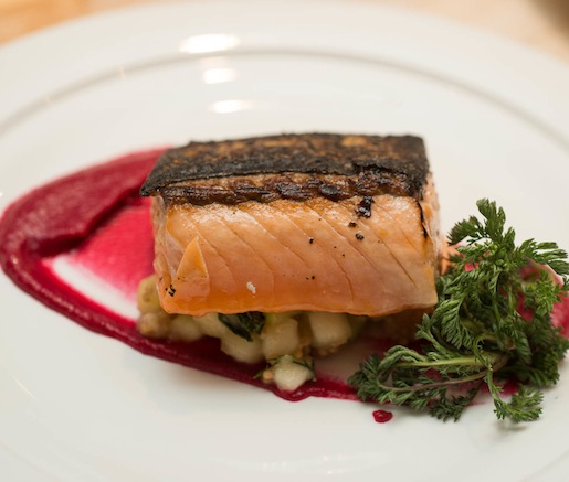 Charred Bitter Herb with Seared Skuna Bay Craft Raised Salmon, Pickled Salmon Belly Lox, Beets, Apples, and Mustard Seed