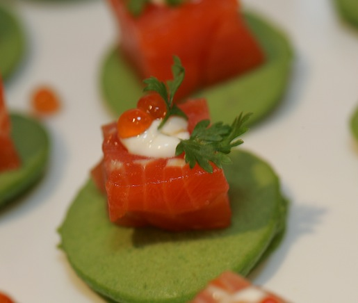 Cold-Smoked Salmon Terrine with Spring Pea Pancake