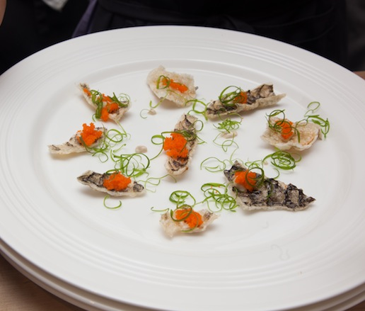 Crispy Salmon Skin with Bonito Mayonnaise and Flying Fish Roe