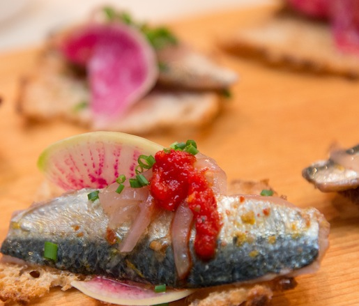 Pickled Sardines with Grated Radishes, Chilies, and Lime