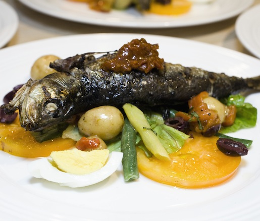 Grilled Whole Sardines with Tomato–Olive Tapenade, Niçoise-Inspired Salad, and Preserved Lemon Vinaigrette
