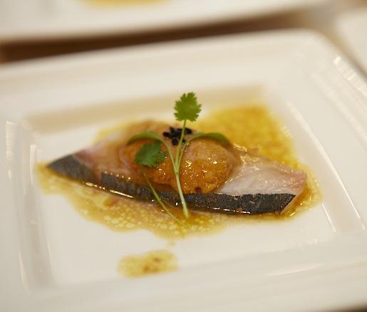 Japan > Shima Aji and Sea Urchin Sashimi with Ceviche Vinaigrette and Cilantro
