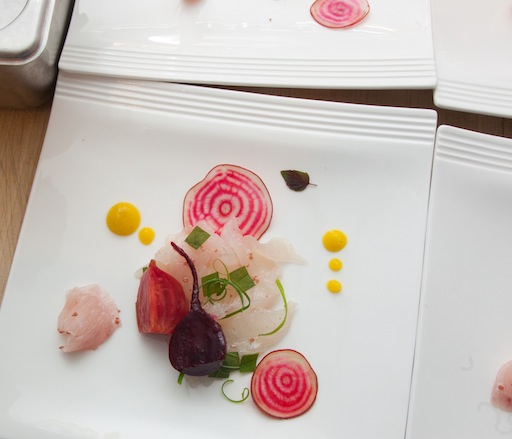 Fluke Sashimi with Beets and Shiso