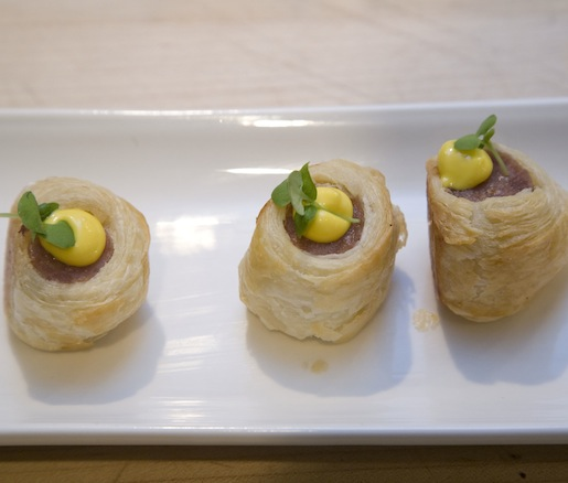 Pork Sausage Rolls with Saffron Aïoli and Pickles