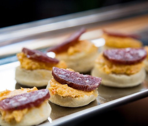 Olli Salumeria Sausages and Biscuits with Pimento Cheese