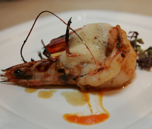 Pan-Seared Diver Scallop and Grilled Prawn with Uni Foam