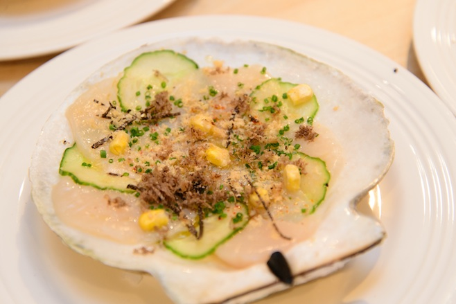 Sea Scallop Crudo with Cucumber, Black Truffles, and Foie Gras Snow