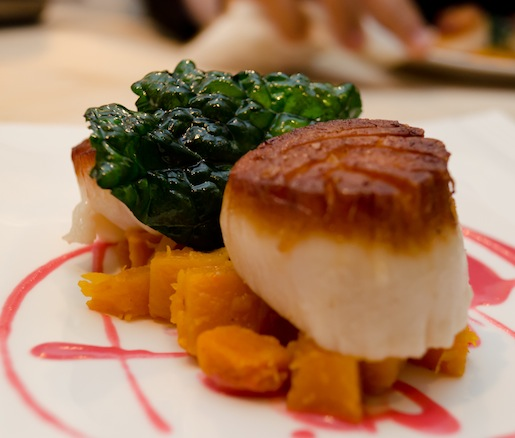 Georges Bank Scallops with Winter Squash Mostarda, Kale Chips, and Cranberry Emulsion