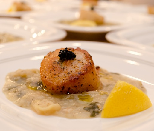 Pan-Seared Long Island Scallops with American Caviar and Fava Bean Purée